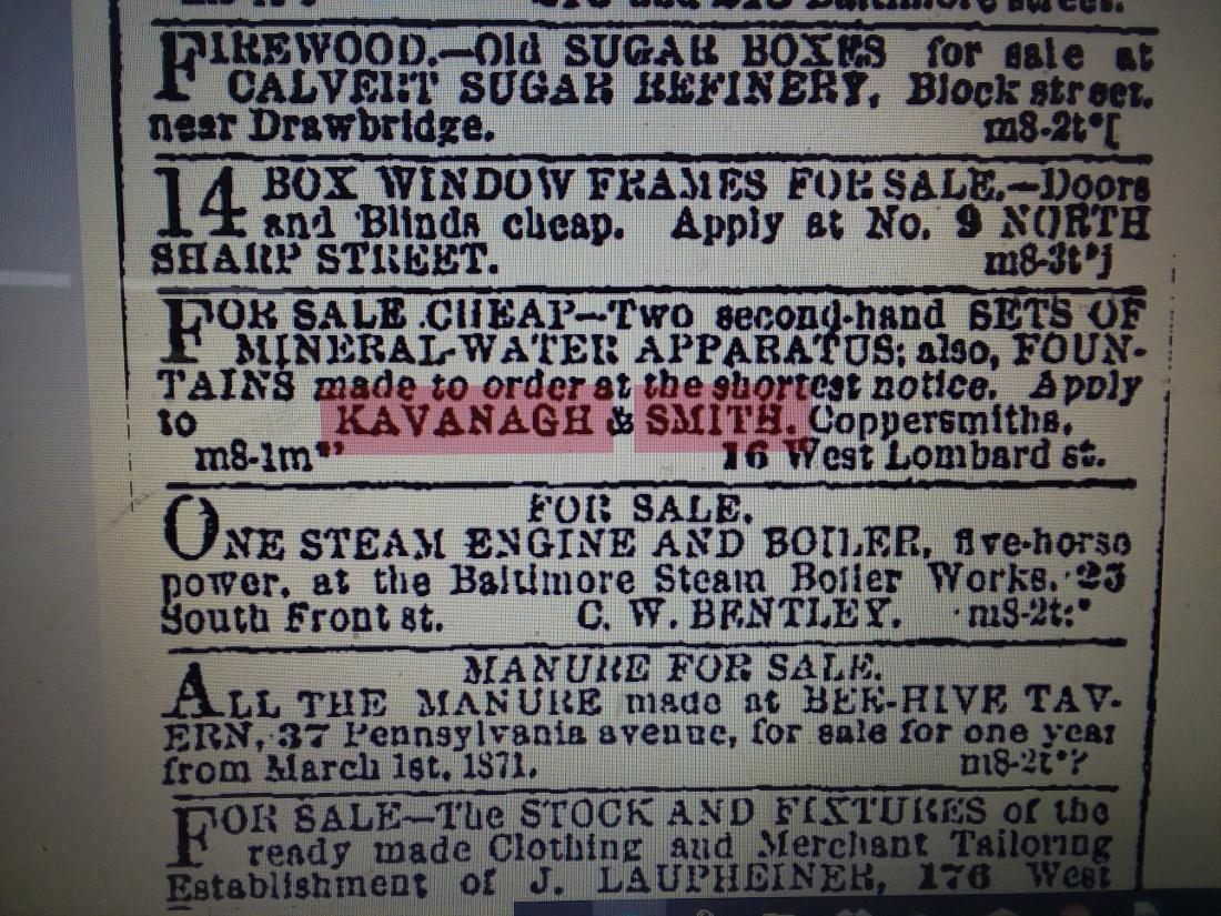 March 9, 1871 Baltimore Sun Ad