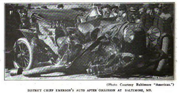 Destroyed Fire Vehicle from Accident at Pratt & Central, November 14, 1914