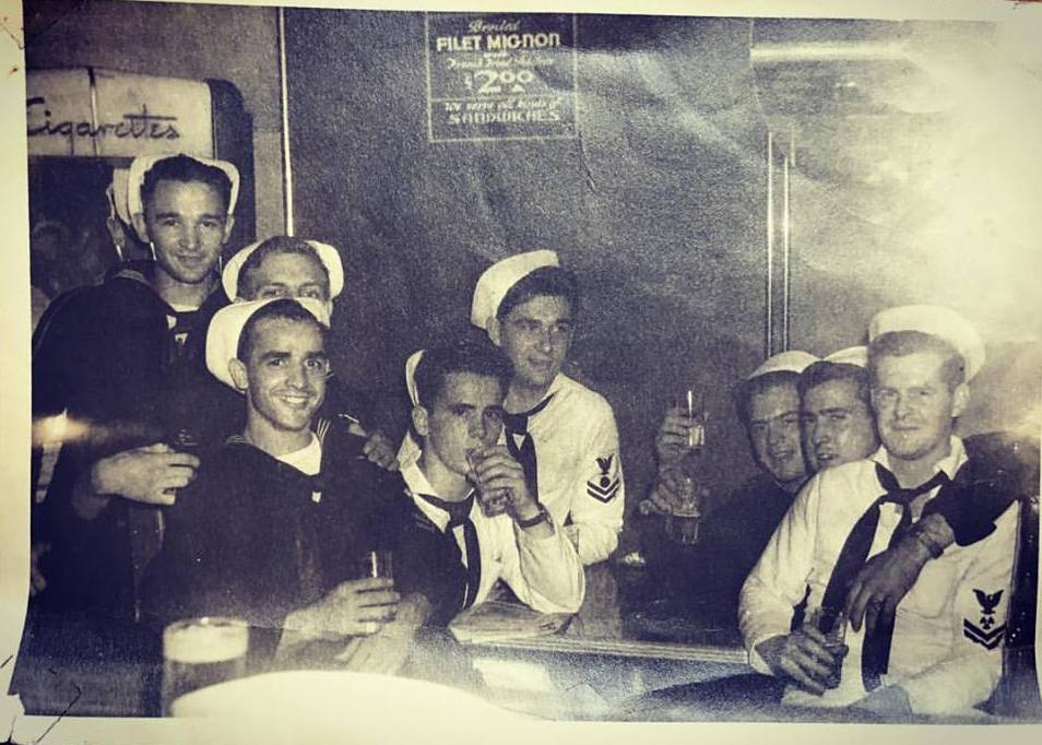 Dad & Navy cronies on Liberty having a beer