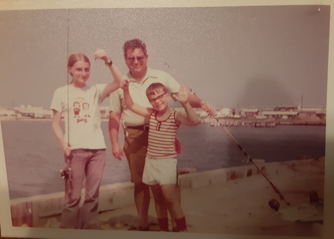 Dad, JoAnn and Joe. Fishing in OC. 1973.