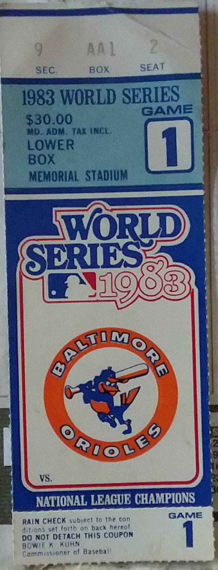 1983 World Series Game 1 ticket