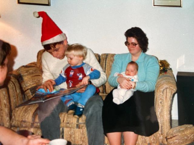 1986 Christmas Jeff, Ann, Phil and Sarah
