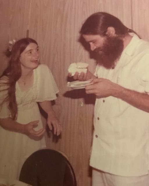 Betty Ann and Michael Ballard. Wedding. Cake picture. 1976